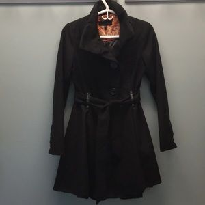 Steve Madden Black Trench Coat Size S